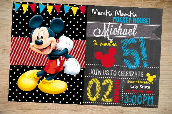 Mickey Mouse Birthday Invitation Christmas
