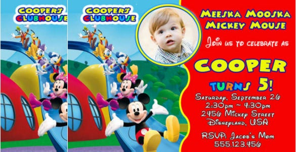 mickey mouse clubhouse birthday party invitation for everyone