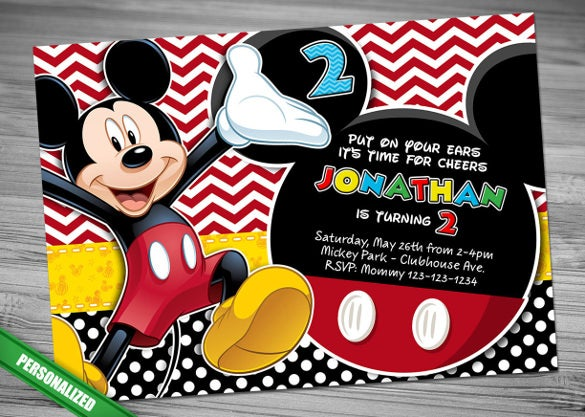 Sample Mickey Invitation Polka Dot