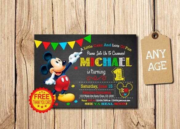 first personalized mickey mouse party invitation1