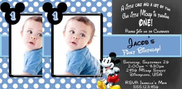 Mickey Mouse Boys Birthday Party Invitations IN Blue