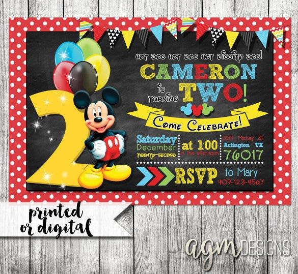 Dark Mickey Mouse Invitation Second Birthday