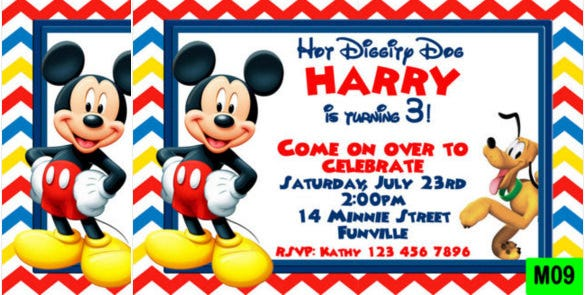 bright red mickey mouse birthday invitation