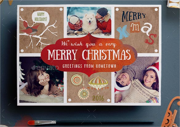 lovely christmas photo postcard template