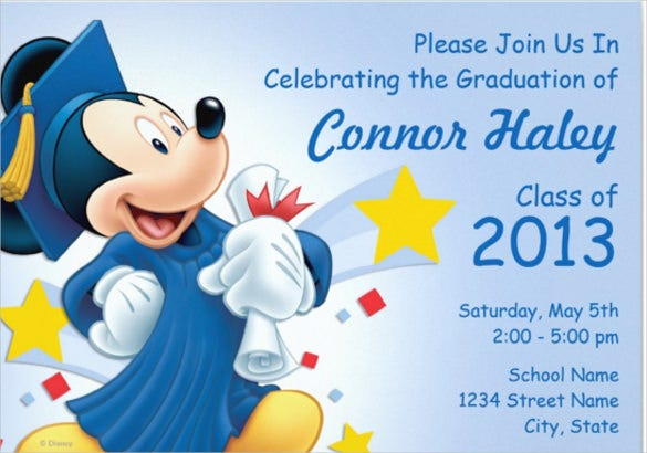 lite color blue mickey graduation invitation card