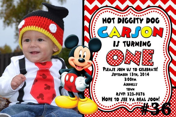 digital mickey mouse invitation printable