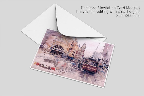 postcard mockup with custom photo