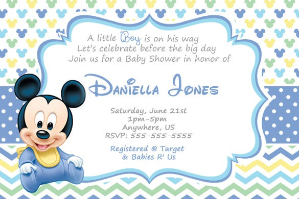 chevron mickey mouse baby shower invitations