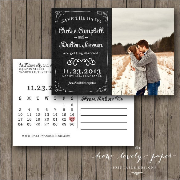 printable save the date postcard with photograph