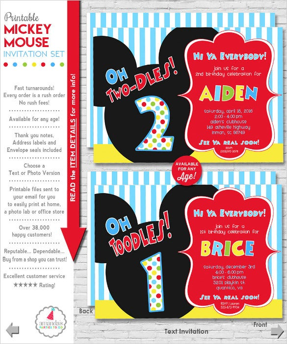 Mickey Mouse Invitation Birthday 1st Printable