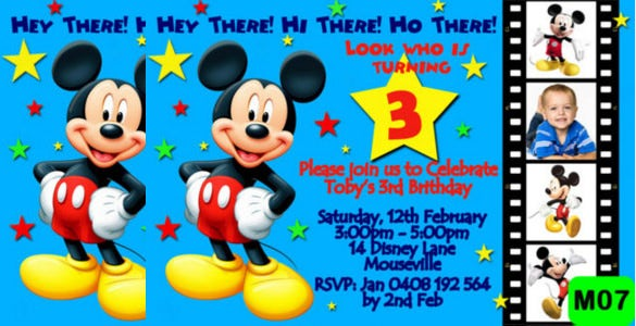 Standard Disney Mickey Mouse Birthday Party Invitation
