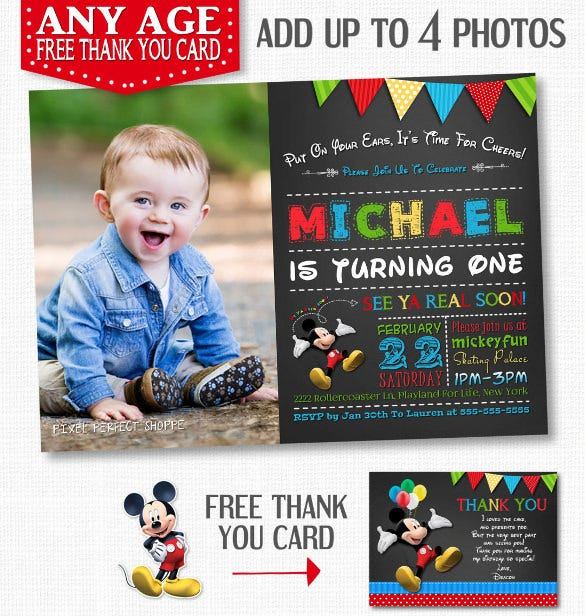 mickey mouse birthday invitation chalkboard invitation