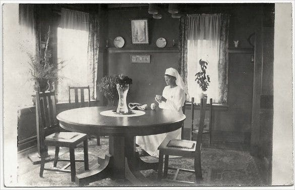 old photo postcard nurse sewing mission