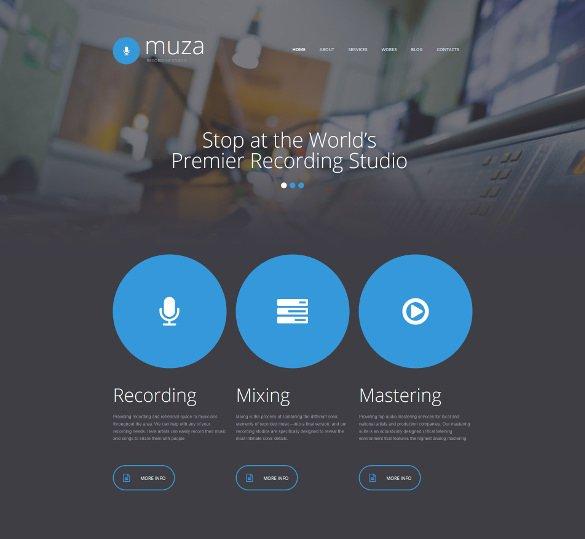recording studio responsive moto cms 3 admin panel