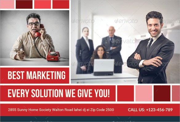 corporate business solution postcard with photo