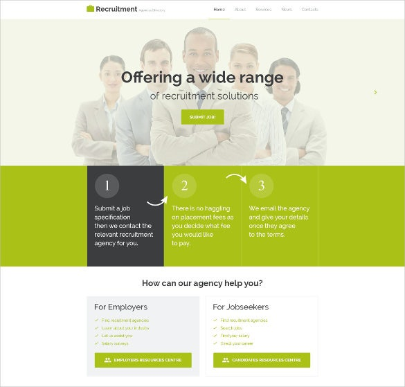 corporate recruitment directory listing website theme
