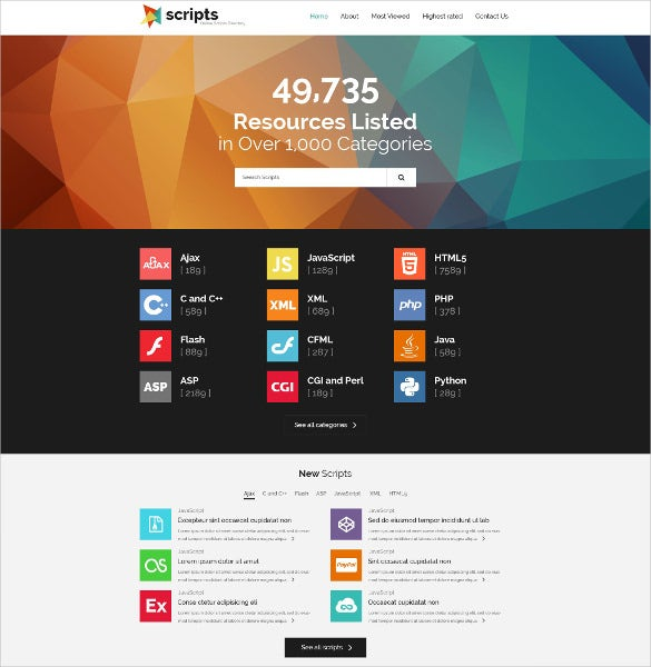 software responsive directory listing website template
