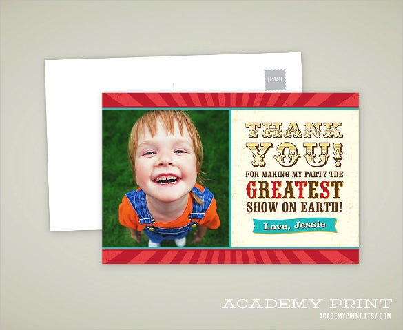 printable carnival thank you custom photo postcard