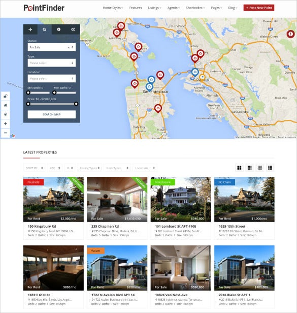 real estate directory listing wordpress website theme
