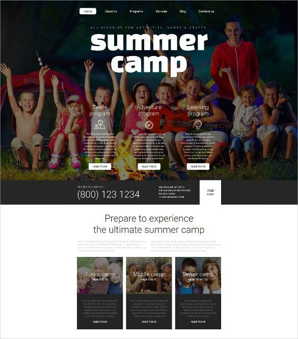 summer camp responsive moto cms 3 template1