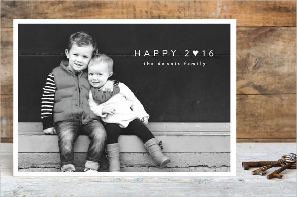 black and white happy heart holiday postcards