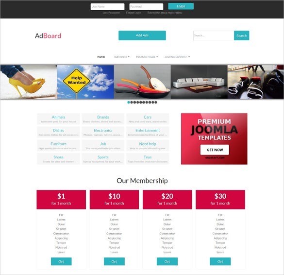 Advertisement Ad Board Directory Joomla Website Template