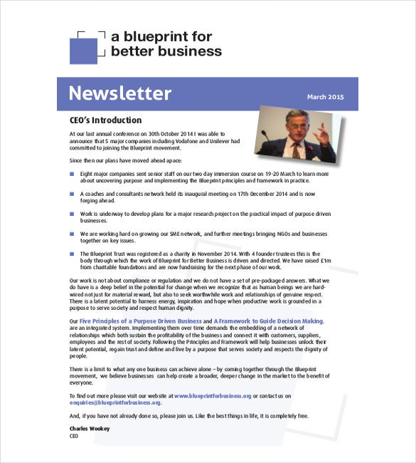 8 Business Newsletter Templates Free Sample Example Format – Free Business Newsletter Templates