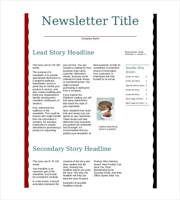 Business Newsletter Templates  Free Sample Example Format