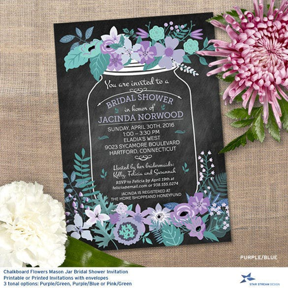 chalkboard mason jar wedding shower invitation template