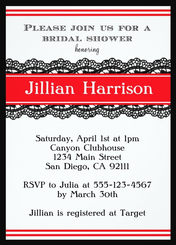 red modern bridal wedding shower invitation template