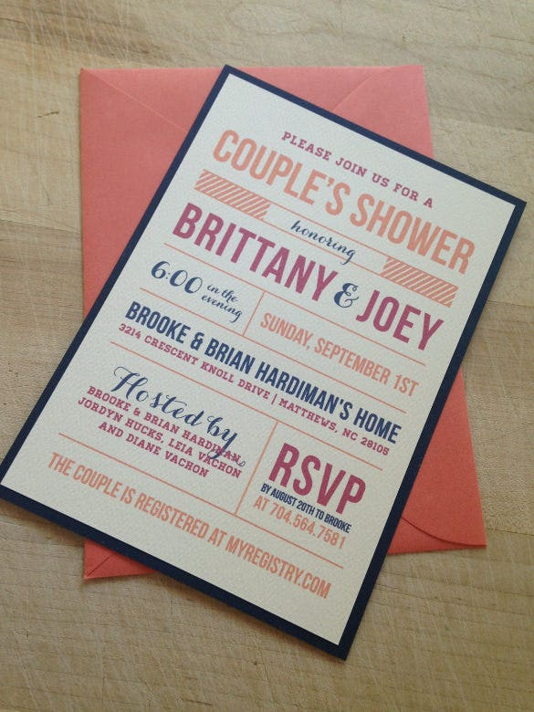 couples wedding shower invitation template