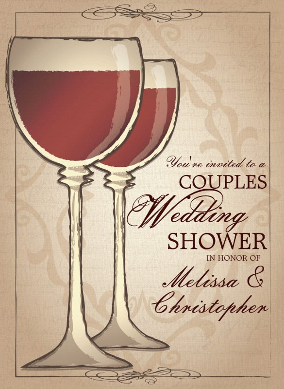 elegant wine themed couples wedding shower invitation download
