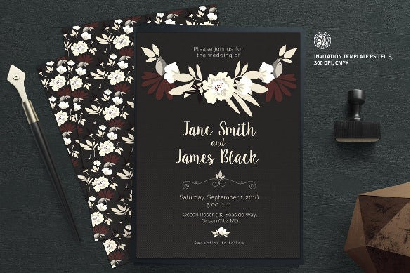 flo wedding shower invitation template psd format