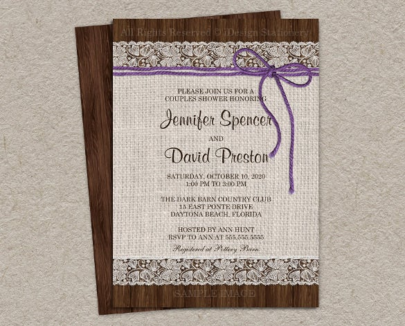 purple rustic wedding shower invitation with burlap and lace