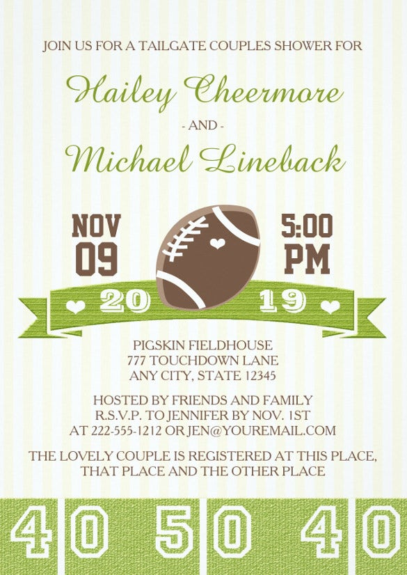 football tailgate couples wedding shower invitation