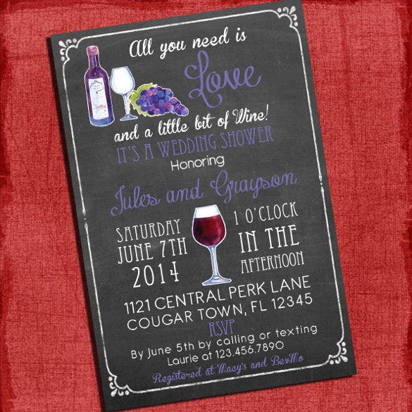 printable wine theme couples wedding shower invitation template