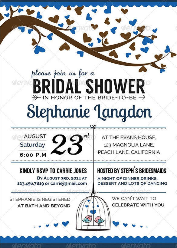 Illustrated Wedding Shower Invitation Template. Download  Bridal Shower Invitation Templates Download