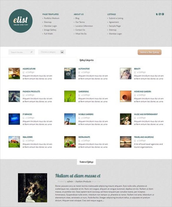 Free Directory Listing Website Template