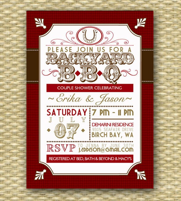 backyard bbq wedding shower invitation template