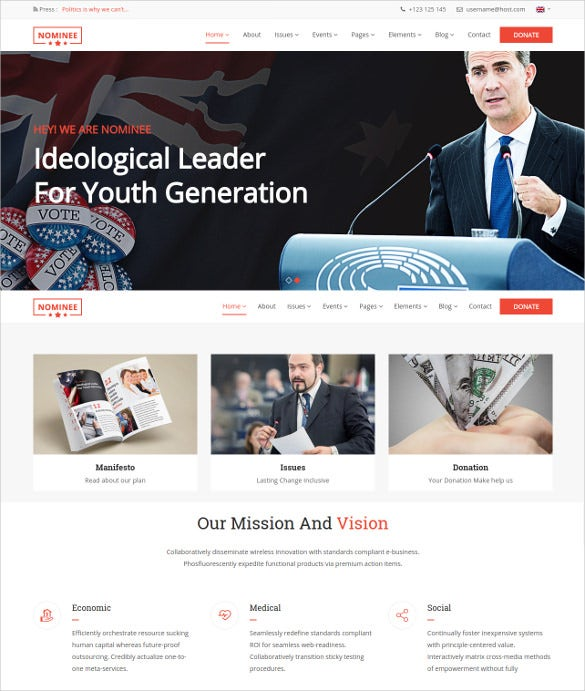 political leader non profit wordpress template 49