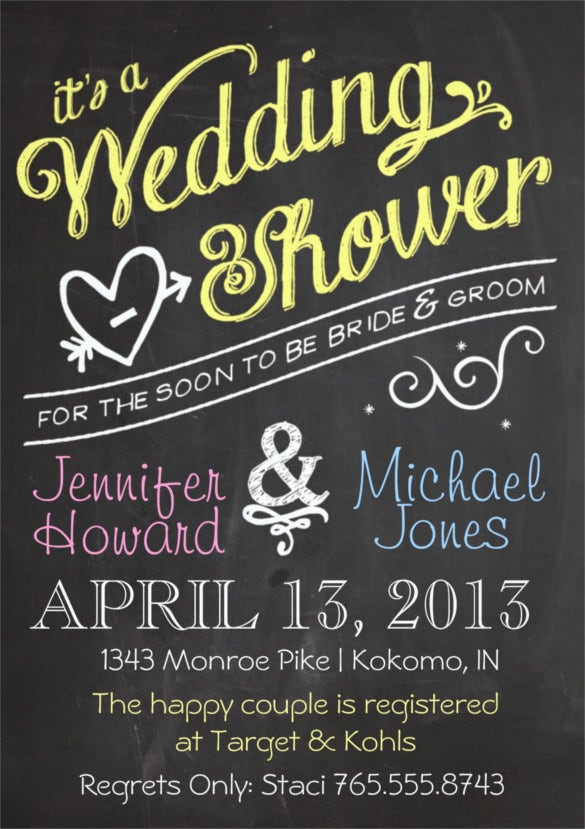 Chalkboard Couples Wedding Shower Invitation  Free Bridal Shower Invitations Templates