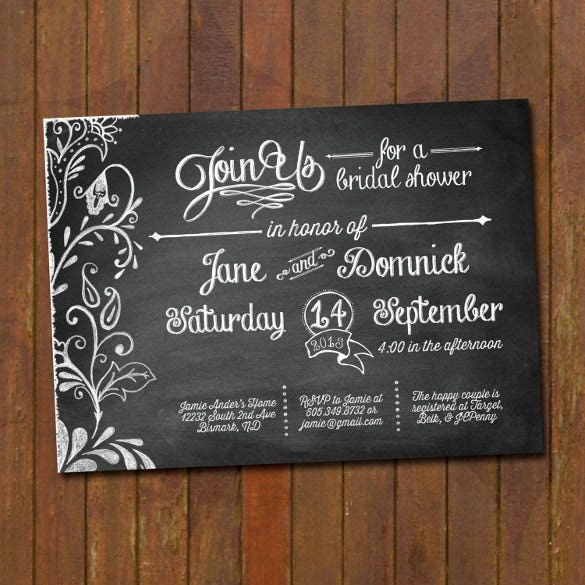 chalkboard wedding shower invitations template download