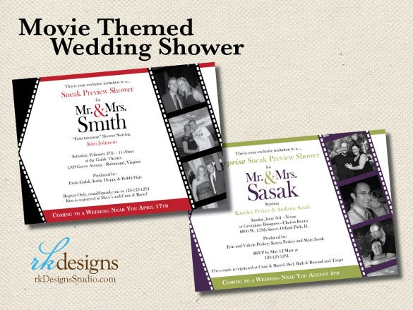 movie themed wedding shower invitation template download