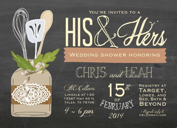 his and hers couples wedding shower invitation