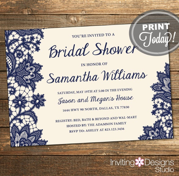 navy blue cream background wedding shower invitation template