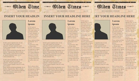 Free Newspaper Templates  Free Sample Example Format