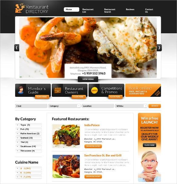 restaurant psd directory template