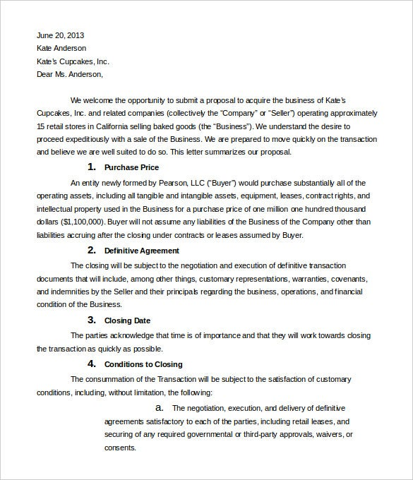 10 Business Letter Of Intent Templates Free Sample Example – Sample Letter of Intent to Sell Shares