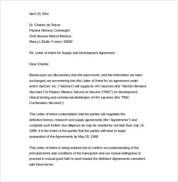 Sample Business Letter Of Intent To Supply Word Printable  Letter Of Intent Sample Business
