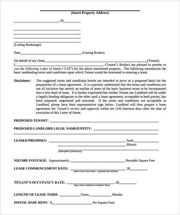 Superior Sample Business Letter Of Intent To Lease PDF Format